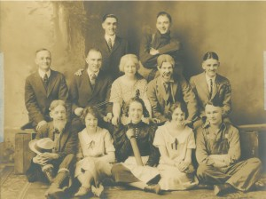 YPU cast members, c. 1925. This play was put on to raise money for a new church building.
