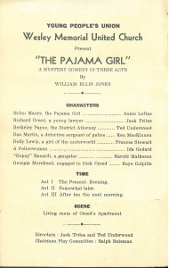 """Programme for YPU play """"The Pajama Girl: A Mystery Comedy in Three Acts,"""" n.d."""