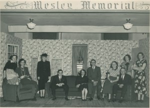 Cast members from a YPU play, c. 1940s. From left to right: Lois Purdy, Janey Mason, Frances Purdy, Doug Stoddard, Hazel Elliot, Ron Dempsey, Margaret Hunt, Retus (?) McFayden, Pete Harmer, and Shirley Schofield.