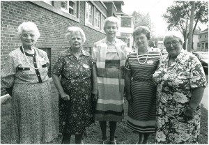 Four attendees of the YPU reunion in August 1988. From left to right: Margaret MacFarlane, Ida Eagles, Anne Loftus, Myrtle Dempsey, and Marion Wood
