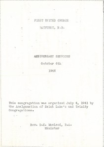 Order of service for First United anniversary service, October 6, 1946