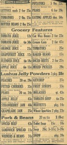 1949 grocery advertisement from The Campbellton Graphic