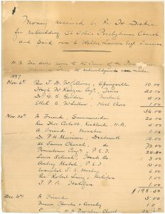 PC-525-17 Subscription list for St John's Presbyterian Church, 1897