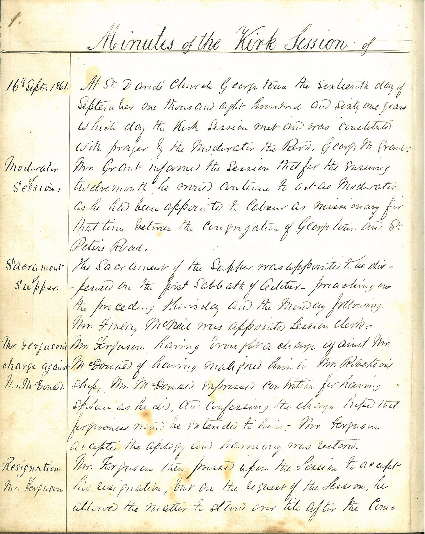 St. David's, Georgetown Pastoral Charge Records Listing