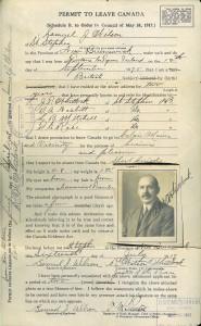 Samuel J. Wilson's permit to leave Canada, 1917