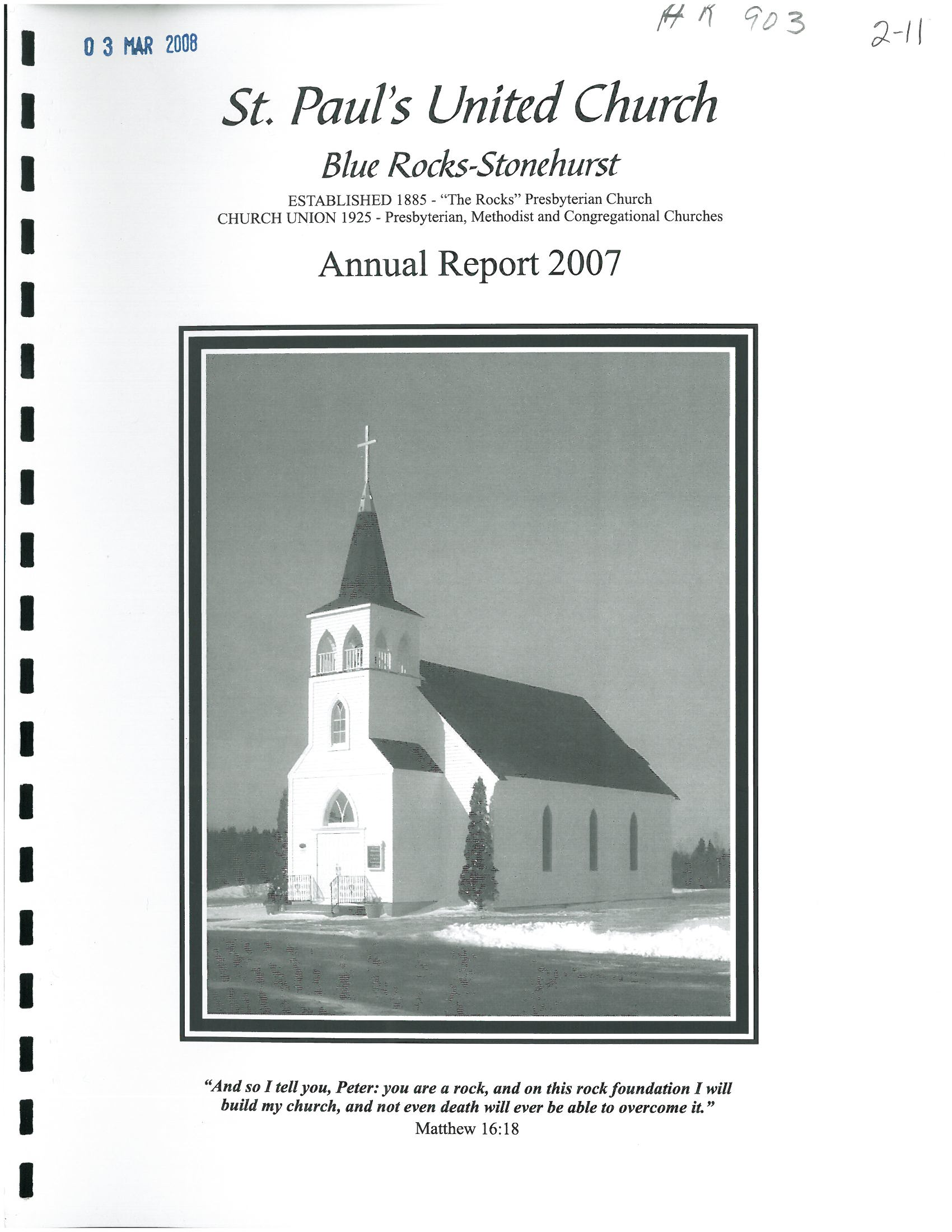 Blue Rocks-Stonehurst Pastoral Charge records listing