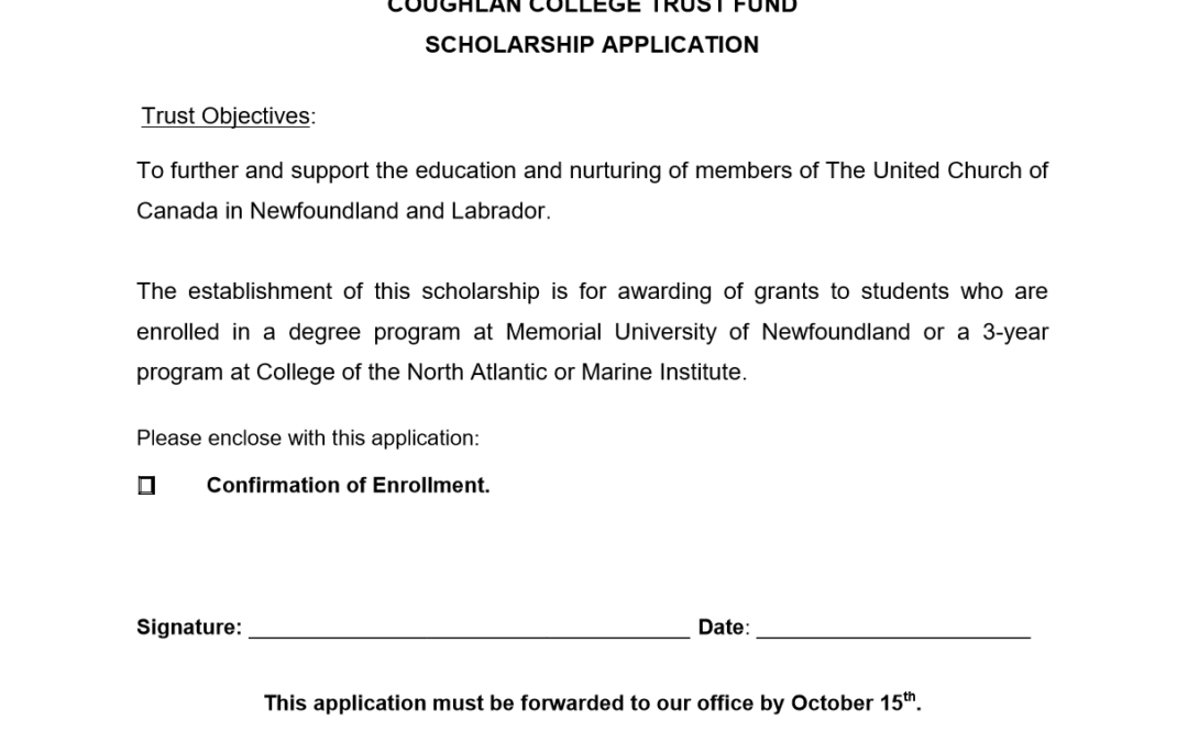 Coughlan College Scholarship Application